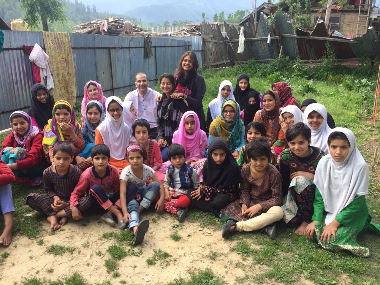 Zahra and Neha at Borderless World Foundation, Kashmir May 2018 Dept- Poli n Pub Adm