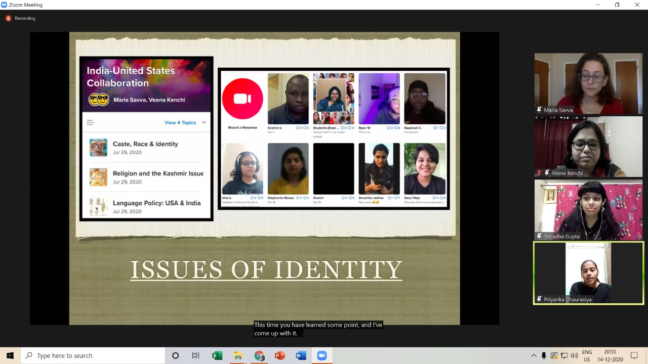 MILE- Issues of Identity in India and US- use of flipgrid platform