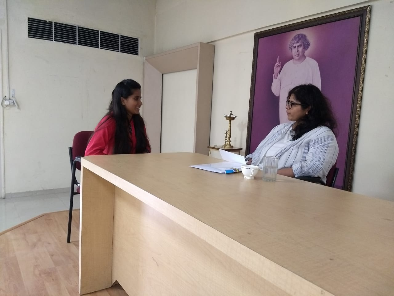 Miss Ankita of GoMo Group conducting personal interview round for the candidates