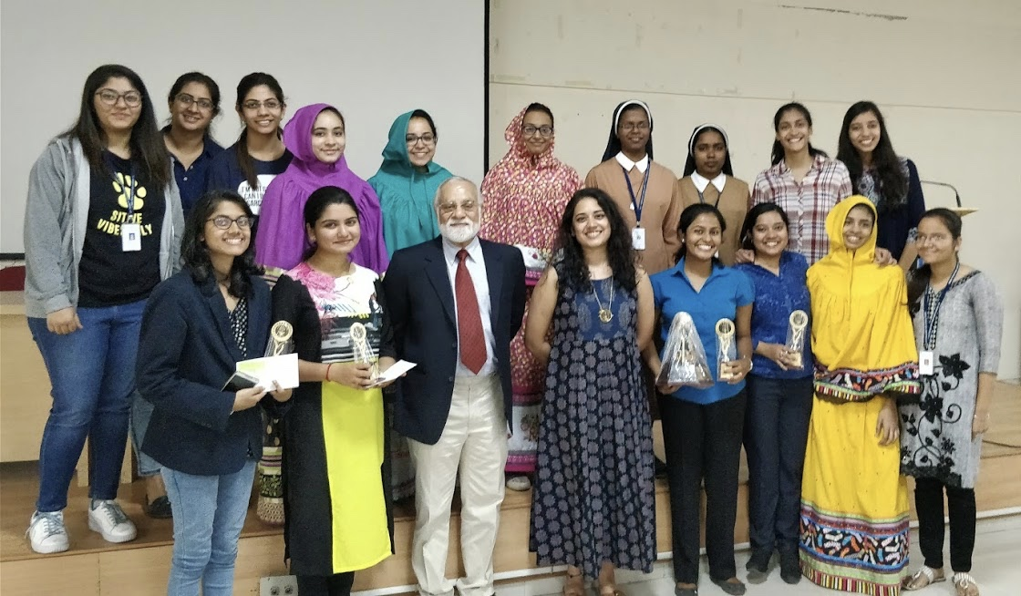 The judges, Mr. Suraj Sriram and Ms. Priyanka Menon, and the winners with the Debate