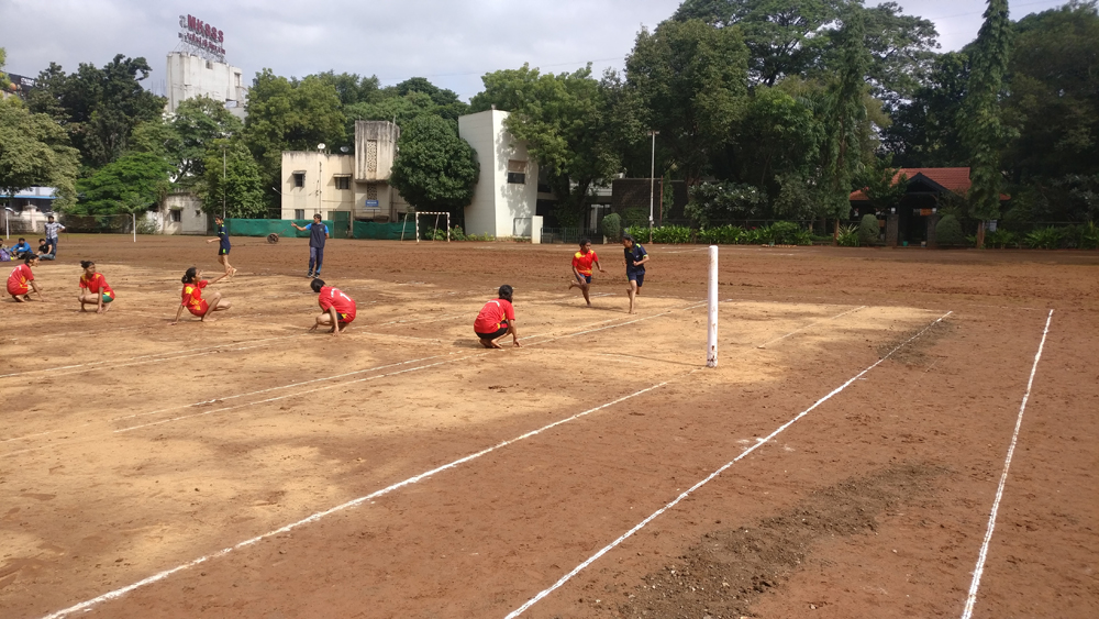 Inter Collegiate Kho-Kho Competition while playing the match 1