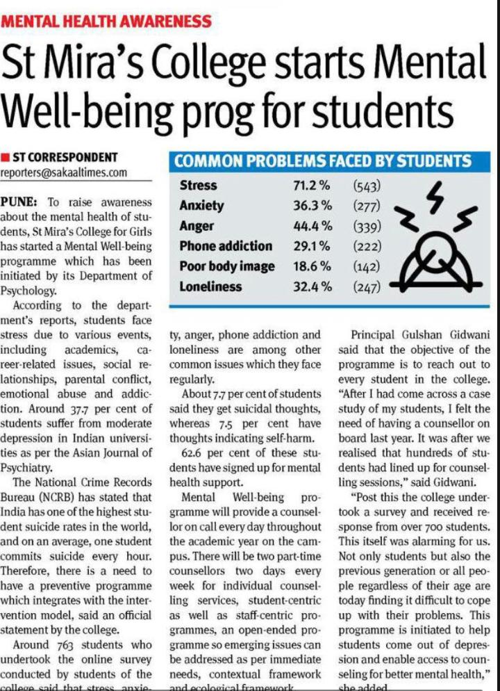 St Mira's College starts Mental Well-being prog for students