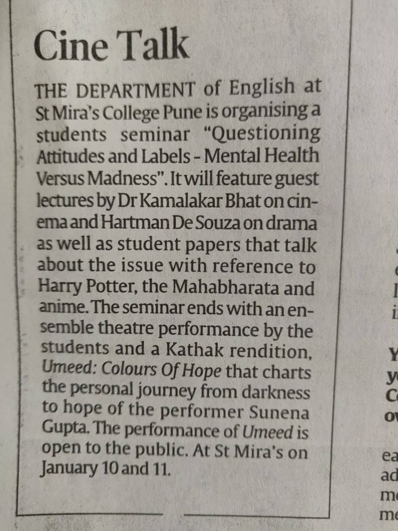 Press Report in the Indian Express dated Friday 10th January on the Dept of English Seminar 2