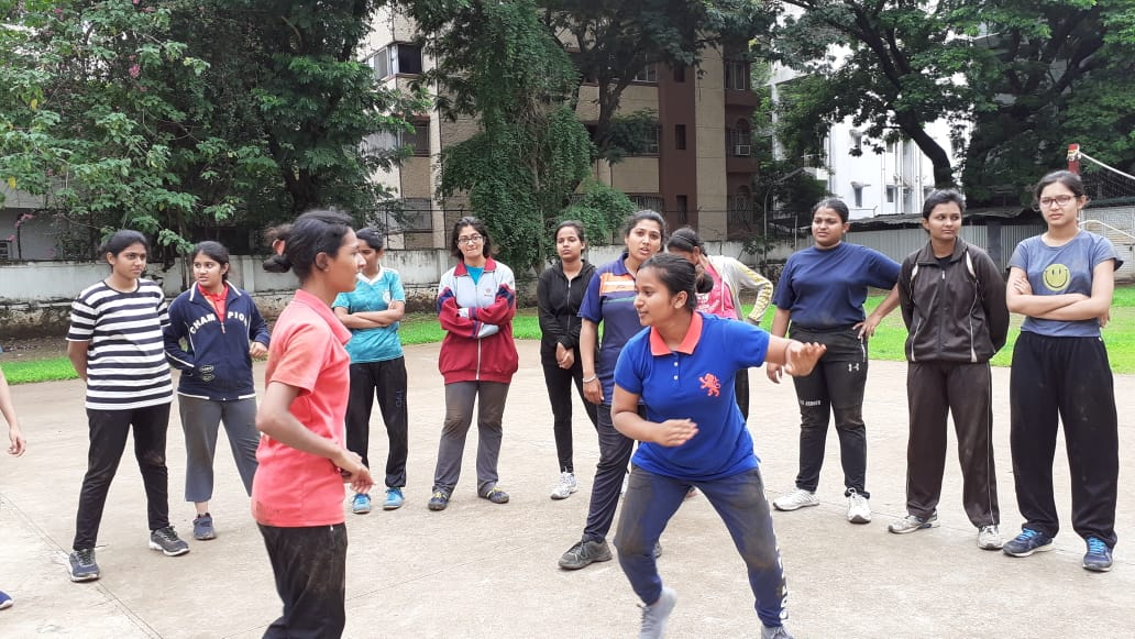 Students undergoing training of self defence